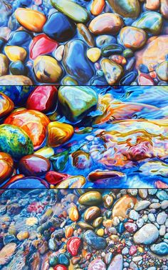 Ester Roi colored pencil drawings of river rocks. amazing