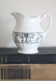 black and white english ironstone pitcher