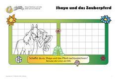 Schaffst du es, Shaya und das Pferd nachzuzeichnen? Benutze die Linien als Hilfe.#printable #kids #zeichnen