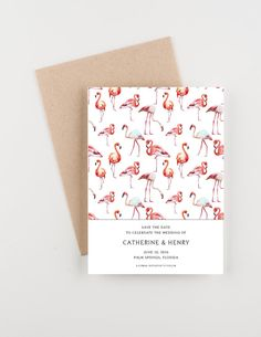 Pink Flamingo Tropical Save The Date Wedding by seahorsebendpress