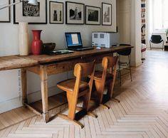 Looks like a DIY herringbone floor; via french by design blog