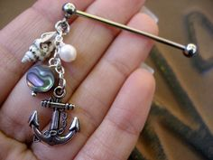 Lightweight Anchor Seashell Charm Cluster Industrial Piercing Barbell Bar Scaffold Pearl Shell Dangle Ear Earring Jewelry on Etsy, $17.50