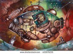 Steampunk big fish by Eugene Ivanov. #eugeneivanov #steampunk #science #fiction #fantasy #machinery #victorian #illustration #art #original  #@eugene_1_ivanov