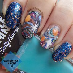 Water Marble Galaxies Mani by /u/NailsByK Colors Used: Sally Hansen Fired Up, Sally Hansen Dive In, a-England Camelot, Rimmel Simply Sizzling, OPI I Can't Cope-acabana, China Glaze Fairy Dust, piCture pOlish Cosmos, L.A. Colors 63. Link to tutorial in blog post!