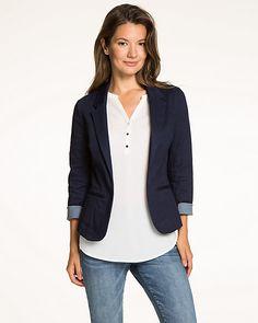 Stretch Denim Open-Front Blazer - Slip on this stretch denim blazer for a casual…