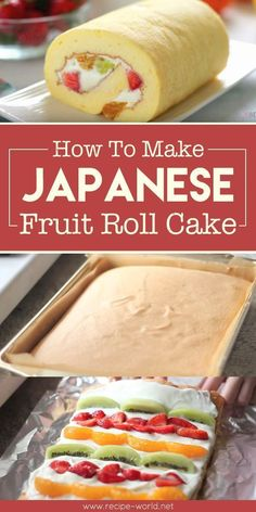 How To Make Japanese Fruit Roll Cake - Vegan Cake DeliciousYou can find Japanese desserts and more on our website.How To Make Japanese Fruit Roll Cake - Vegan Cake Delicious Cake Roll Recipes, Dessert Recipes, Sushi Recipes, Fruit Cake Recipes, Recipies, Japanese Cake, Japanese Sweets, Japanese Dishes, Japanese Deserts