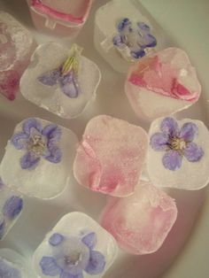 Ice cubes with flowers.  From Prosecco to Plaid.