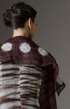 Silk organza dual-patterned shibori stitched and pieced sheer coat.
