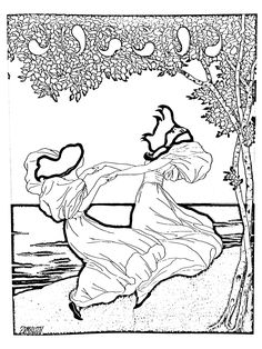 Free coloring page coloring-art-nouveau-from-lithography-by-ludwig-von-zumbush-1900. Coloring page from a lithography by Ludwig von Zumbush (1900)