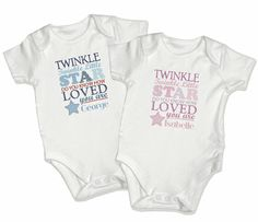 Personalised baby clothing from Personalised Memento Company. www.personalisedmemento.co.uk Baby Christening Gifts, Personalised Baby, Twinkle Star, Love Stars, Onesies, Printing, Clothing, Kids, T Shirt