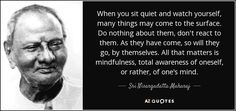 When you sit quiet and watch yourself, many things may come to the surface. Do nothing about them, don't react to them. As they have come, so will they go, by themselves. All that matters is mindfulness, total awareness of oneself, or rather, of one's mind. - Sri Nisargadatta Maharaj