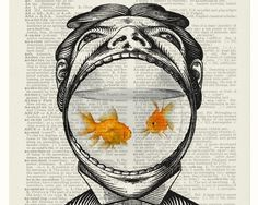 Man and his Goldfish. Vintage Dictionary Page Art Prints. See more art and information about Jean Cody, Press the Image.