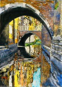 """light beyond the bridge (6) venice 40"""" x 26"""" micheal zarowsky / watercolour on arches paper (private collection)"""