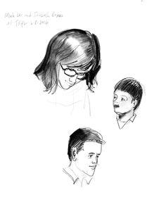 3 of 3 sketches of @bottomshelfbks & @studioroxas presenting LET ME FINISH! at @takoma last night. Congratulations!