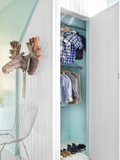 Open Closet Doors - Unused Attic Space Becomes Boys' Bedroom on HGTV