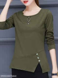 Round Neck Patchwork Brief Decorative Button Plain Long Sleeve T-Shirt - berrylook.com