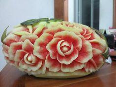 Hướng đẫn Cách tỉa hoa Hồng từ Dưa Hấu-Carving Art Rose Flower | cong nguyen - YouTube