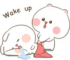 TuaGom : Puffy Bear & Rabbit by Tora Jung sticker Cute Chibi Couple, Cute Couple Cartoon, Cute Bear Drawings, Cute Cartoon Drawings, Cute Love Pictures, Cute Love Gif, Chibi Cat, Cute Kawaii Animals, Cute Love Stories