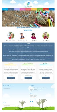 A redesign for Play to Learn Early Learning Centre Play Based Learning, Learning Centers, Early Learning, Play To Learn, Business Website, Business Design, Centre, Web Design, Environment