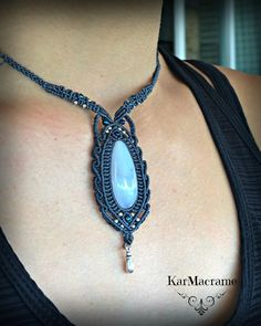 Blue Lace Agate macrame necklacehandmademicromacrame by KarMacrame on Etsy