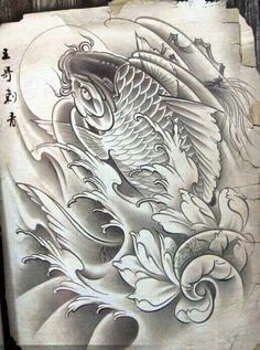 Desenhos de Carpas Facebook: Leandro Carlos Tattoo Instagram: Leandro_Carlos_Tattoo #LeandroCarlosTattoo #Ideiascarpas Koi Dragon Tattoo, Carp Tattoo, Koi Fish Tattoo, Fish Tattoos, Japanese Tattoo Art, Japanese Tattoo Designs, Tatoo Designs, Dragon Tattoo Designs, Body Art Tattoos