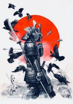 Jan 2020 - Unstoppable Samurai Warrior Art Print by Rodolfo Migliari - X-Small Japanese Warrior Tattoo, Samurai Warrior Tattoo, Warrior Tattoos, Japanese Tattoo Art, Japanese Tattoo Designs, Japanese Sleeve Tattoos, Henna Tattoo Designs, Tribal Dragon, Tribal Arm