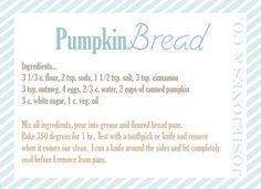 Pumpkin Bread recipe printable