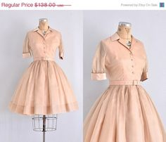 vintage 1950s dress  peachy nude silk chiffon / by PickledVintage, $96.60