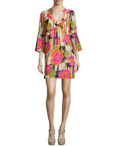 3/4-Bell-Sleeve Floral-Print Dress at CUSP.