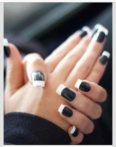 Nails, nail art, nail design, black, white, tips