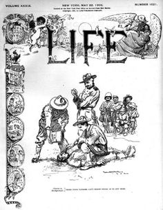 This cartoon on the May 22, 1902 cover of Life magazine depicts American soldiers waterboarding a Filipino in the Philippine-American War.