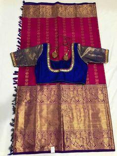 Kanchivaram sarees Designer Sarees Wedding, Wedding Saree Blouse Designs, Saree Blouse Neck Designs, Saree Blouse Patterns, Kids Blouse Designs, Simple Blouse Designs, Kanjivaram Sarees Silk, Bridal Silk Saree, Trendy Sarees