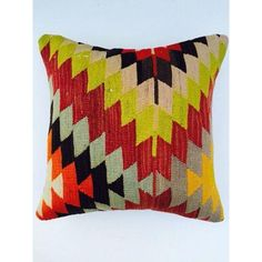 """Hot colors and cool patterns... this pillow is """"Kilim"""" me!"""