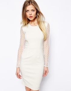 Image 1 ofTempest Abbey Dress With Spot Mesh Sleeves