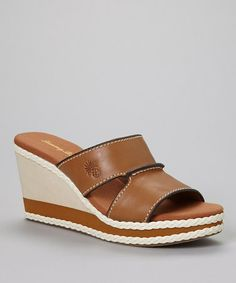 Look what I found on #zulily! Wood Kamala Leather Wedge Slide - Women #zulilyfinds