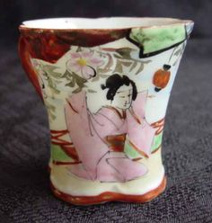 Old Japan Geisha Demitasse Cup and Saucer - Another View of Cup
