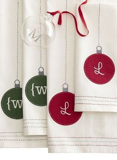 Monogrammed guest towels #xmas