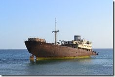 The shipwreck you see from the Costa Teguise to Arrecife coast road.