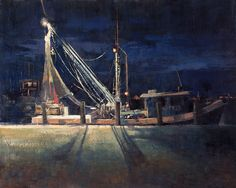 "My nocturne ""Ready For Dawn"" (oil on panel, 16""x20""), painted at Rockport Harbor, received a Plein Air Magazine Award of Excellence at the Outdoor Painters Society's Plein Air Southwest this year. This is my third ever nocturne. #patricksaunders #patricksaundersfinearts #patricksaundersfineart #patsaunders #patsaundersart #pleinairstreaming #saundersfinearts #nocturne #nocturnepainting #oilpainting #shrimper #shrimpboat"