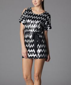 Take a look at this Silver Zigzag Sequin Cutout Dress by Soie Shop on #zulily today!