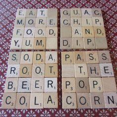 Coasters Scrabble Pieces Crafts, Scrabble Letter Crafts, Scrabble Coasters, Scrabble Ornaments, Scrabble Tile Crafts, Alphabet Letter Crafts, Scrabble Letters, Diy Coasters, Puzzle Pieces Games