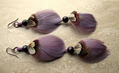 Feather Earrings  Ethereal Purple Feather by peacefrogdesigns, $24.00