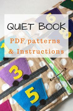 Quiet book patterns and instructions for activity pages. Choose one of many quiet book activities that fit your childs needs. These are simple sewing projects that make perfect gift and learning toy for your child. Click now. Diy Quiet Books, Felt Quiet Books, Book Activities, Toddler Activities, Creative Activities, Creative Play, Indoor Activities, Summer Activities, Sewing Projects For Kids