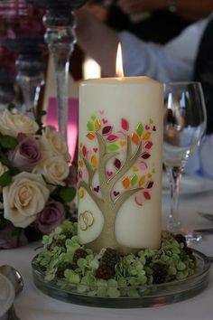 """Hochzeitskerze """"Lebensbaum"""" von Maja's Folienideen  kreative Kerzengestaltung auf DaWanda.com"""