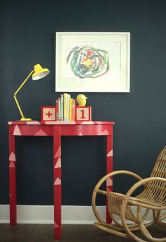 Spruce up a side table with a coat of colorful paint and a few decorative details.