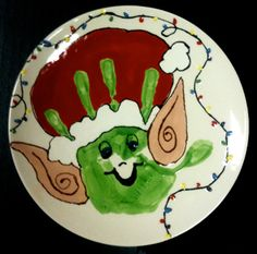 Handprint painted as Christmas elf on pottery at Be Wild for Art in Norman, Oklahoma. Holiday Crafts For Kids, Christmas Activities, Holiday Fun, Christmas Holidays, Christmas Gifts, Christmas Ideas, Footprint Crafts, Paint Your Own Pottery, Handprint Art