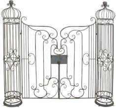 Benzara 63270 Metal Garden Gate With Natural Brown Tones