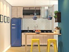 A geladeira azul completa a decor dessa cozinha modulada Quirky Home Decor, Home Decor Kitchen, Kitchen Interior, Small Apartment Kitchen, Modern Grey Kitchen, Grey Kitchen Designs, Small American Kitchens, Leroy Merlin, Trendy Home