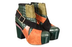Kron by KronKron wedge booties with orange suede and green leather Platform Boots, Green Leather, Beautiful Shoes, Shoe Collection, Peep Toe, Booty, Mens Fashion, My Style, Heels