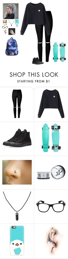 """""""Penny Boarding"""" by hanakdudley ❤ liked on Polyvore featuring Chicnova Fashion, Converse and Casetify"""
